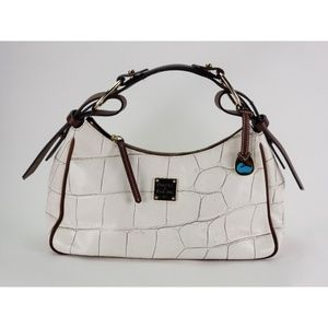 Dooney & Bourke White & Brown Leather Hand Bag